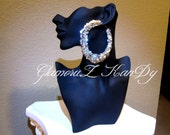 """Original Basketball Wives POParazzi """"BILLIONAIRE"""" SILVER Sequin Large Bamboo Earrings"""
