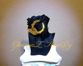 """Original Basketball Wives POParazzi """"BILLIONAIRE"""" GOLD Sequin Large Bamboo Earrings"""
