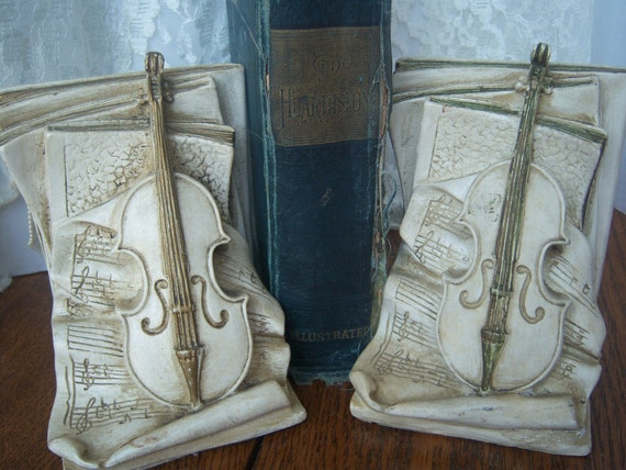 Vintage Violin Bookends