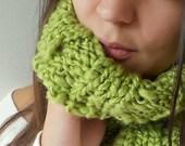 Lime Greem Neckwarmer wool blend Neck cowl