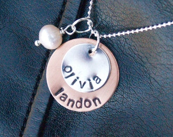 Hand Stamped Sterling and Copper Necklace