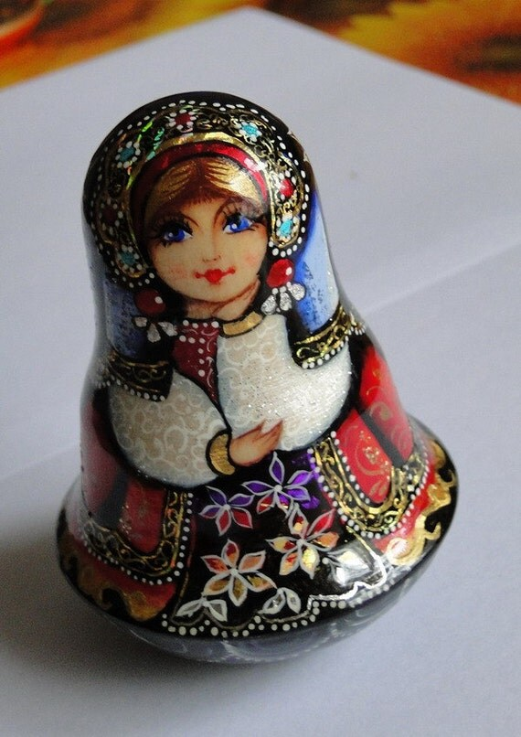 Russia matryoshka handmade. Funny Russian doll (roly-poly) with built-in bell.