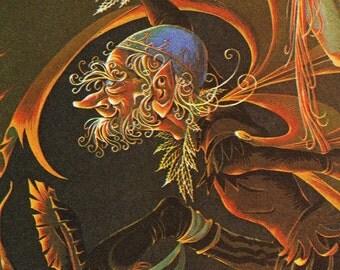 Rumpelstiltskin - Vintage Illustration Storybook Print - Deans A Book of Fairy Tales - Paper Ephemera