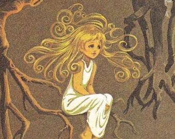 Thumbelina - Vintage Illustration Storybook Print - Deans A Book of Fairy Tales - Paper Ephemera