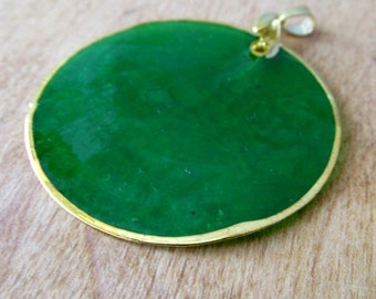 Green Gold Capiz Shell Pendant 50mm with Gold Pinch Bail by Blue Moon Beads Ready to Wear