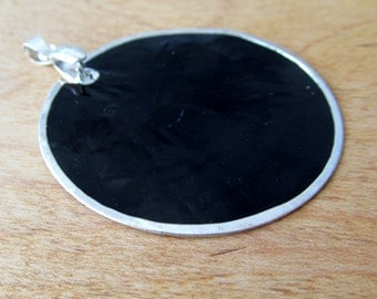 Black Silver Capiz Shell Pendant 50mm with Silver Pinch Bail by Blue Moon Beads Ready to Wear