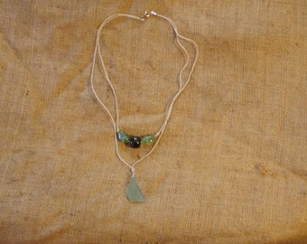 Layered Sea Glass and Bead Necklace