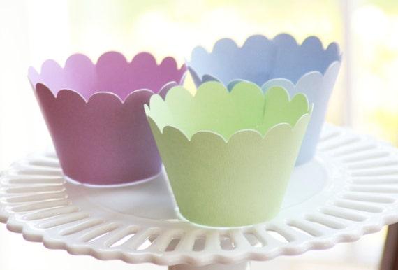 Spring Pastel Cupcake Wrappers - Easter Cupcake Wrappers - Cupcake Wrappers
