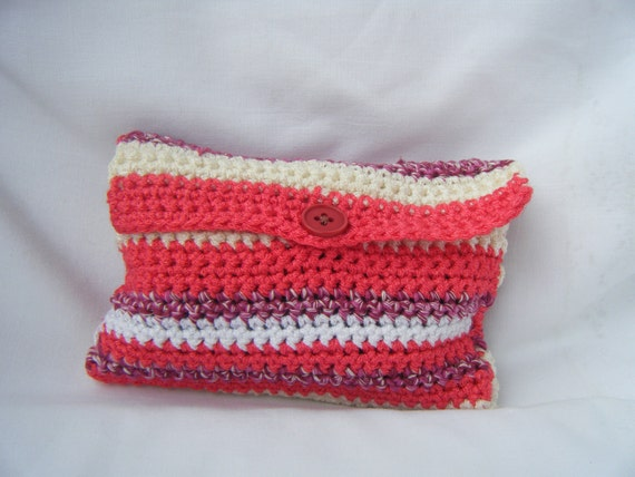 Candy wristlet. Pink striped crochet wristlet  for organizer your bag.