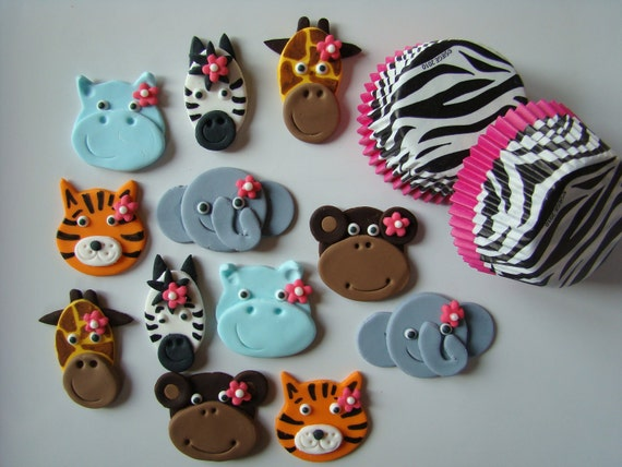 Items similar to Edible Fondant Cupcake Toppers and Zebra ...