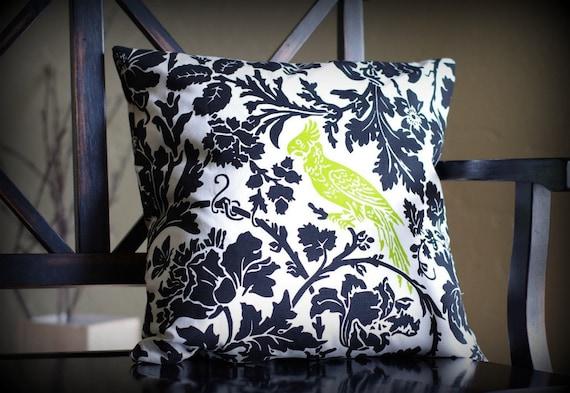 Sale-Bird Damask Pillow Cover, 18x18