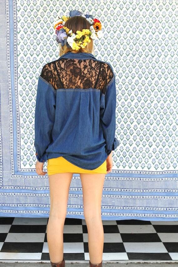 lace backed denim shirt