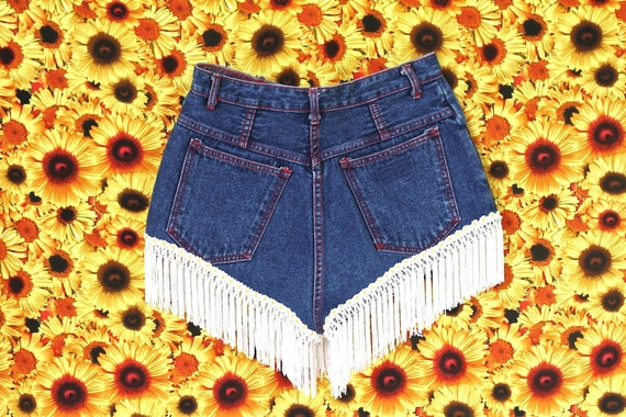 AMERICAN gurl, high waisted and fringed denim booty shorts