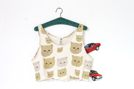 kitty cat crop top, organic slouch