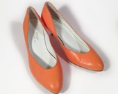 Reserved-Tangerine Orange Leather Pumps by Joy, size 8 1/2, Never Worn