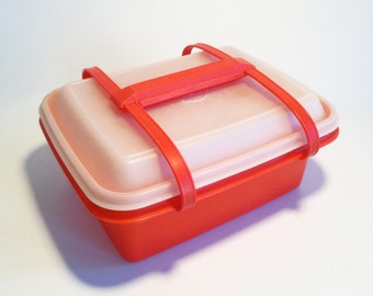 Vintage Orange Tubberware Lunchbox with Handles