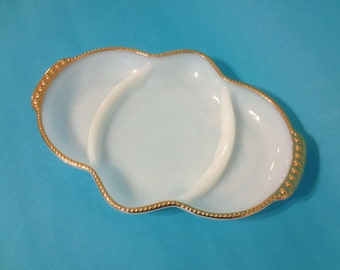 Milk Glass Fire King White and Gold Relish Serving Tray