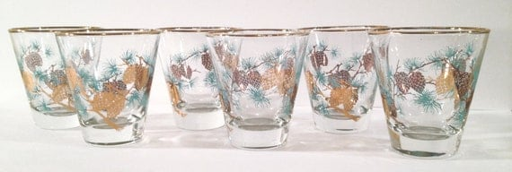 Set of 6 Vintage Gold and Teal Pinecone Glasses