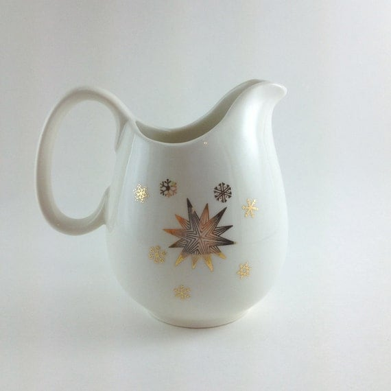 Vintage Creamer by Stardrift, Snowflake and Star Pattern