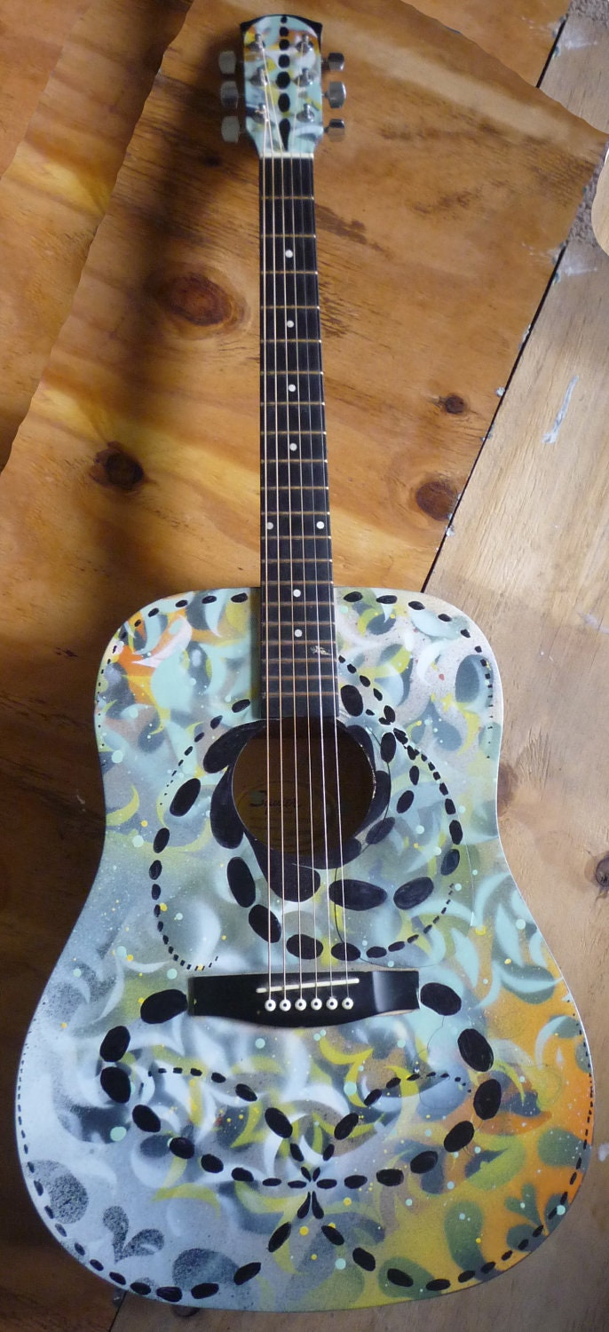 custom spray painted acoustic guitar. Black Bedroom Furniture Sets. Home Design Ideas