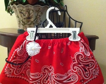 Girls Red Bandana Skirt Trimmed with Red and White Gingham - 3 to 24 months and 2-6**