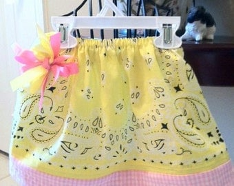 Just for the Little Cowgirls - Yellow and White Bandana Skirt with Pink Gingham Hem - 6 months to 6