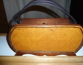 Vintage Birch Plywood Purse With Leather Strap Inlaid