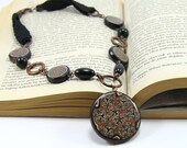 Black Brown Necklace - Ethnic Boho Chic Unique Handmade Crochet, Copper Materials with Polymer Clay Pendant - Necklaces for Women