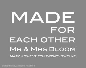 "Made for Each Other - 5x7"" - Customizable - Anniversary Gift - Printable - Digital Download"