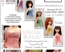 PDF Crocheted Corset Camisole Pattern for 16 inch Fashion Dolls and MSD BJD