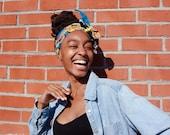 African Fabric Belt/ Head Wrap -Reversible blue, orange yellow, nautical, ankara real wax prints