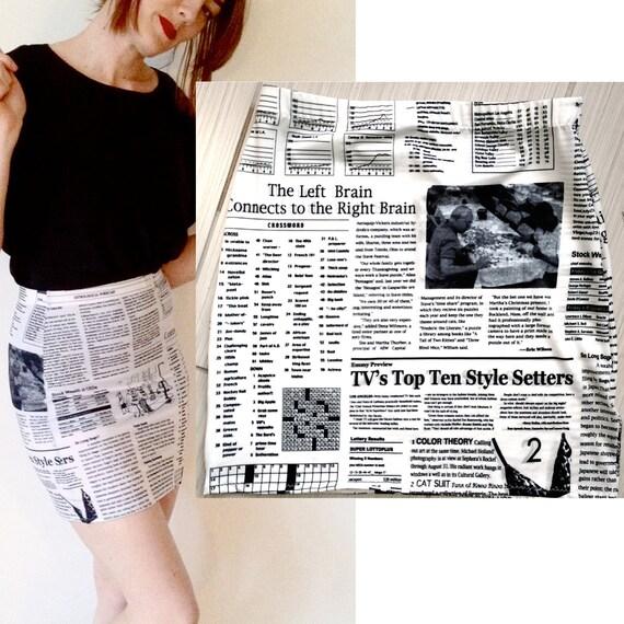 Newspaper Print Bandage Skirt