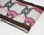 Baby Burp Cloth - Pink and Brown Lace
