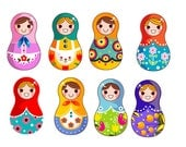 INSTANT DOWNLOAD 1 zip file- Clip Art Personal Small Commercial -matryoshka russian dolls elements clipart 1077