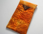 Sunglass Case in Sunflower Orange, Quilted Snappy Case