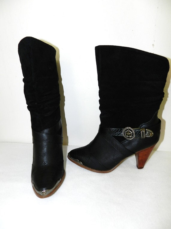 Vintage 1970s Black Leather Western Harness Boots - Size 7.5