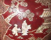 Red Lacquer Mother of Pearl Japanese Vase for Turkish Market