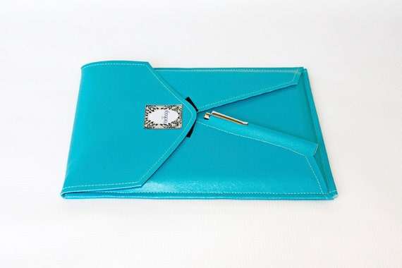 "iPad Case - Turquoise Faux Leather - Tablet / E-reader Sleeve - VEGAN - Birdbags ""Bird Pad"" - FREE SHIPPING"