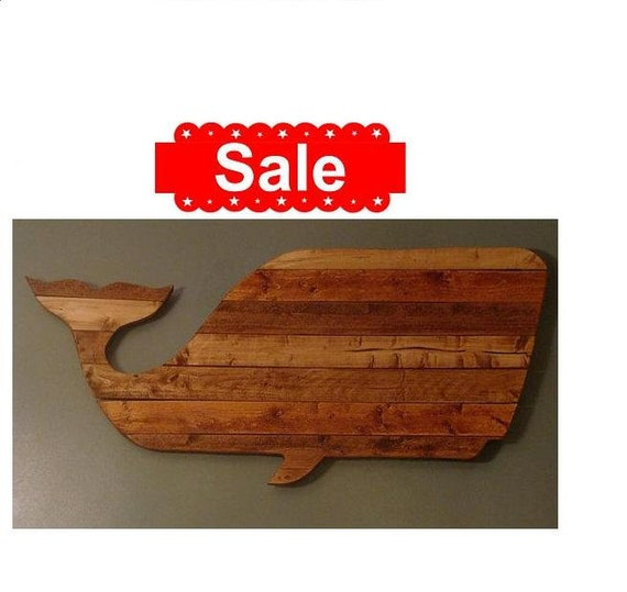SALE Handmade Reclaimed Wood Whale Wall Hanging
