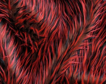 Half Yard 3tone Spiked Shag Fur - Brown, Black & Red