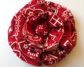 Red Bandana Print Fabric Hair Bow