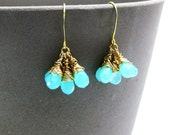FALL SALE 30% OFF - teal briolette cluster dangle earrings