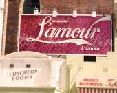 L'Amour (Love) sign, art print, original photograph, pink glittery sign, Paris, 5 x 7