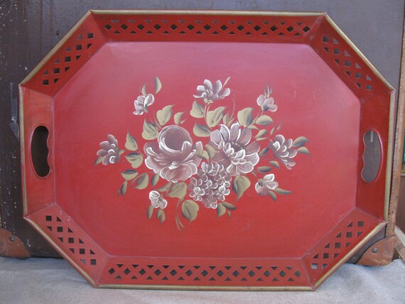 Beautiful VIntage Red Metal Tole Tray