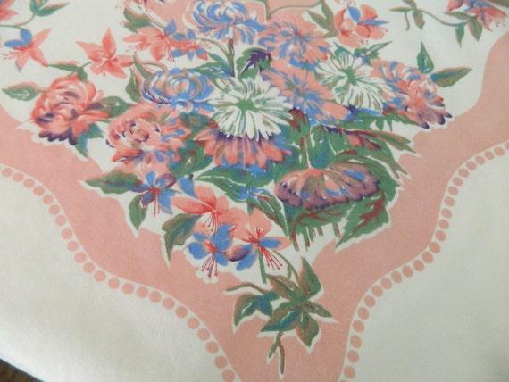 Vintage Cotton Floral Tablecloth