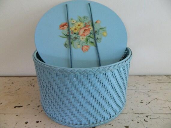 Lovely Blue Woven Harvey Sewing Basket