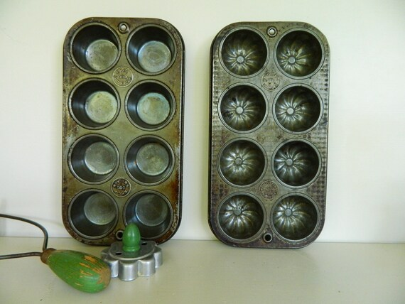 Set of 2 Vintage Muffin Tins
