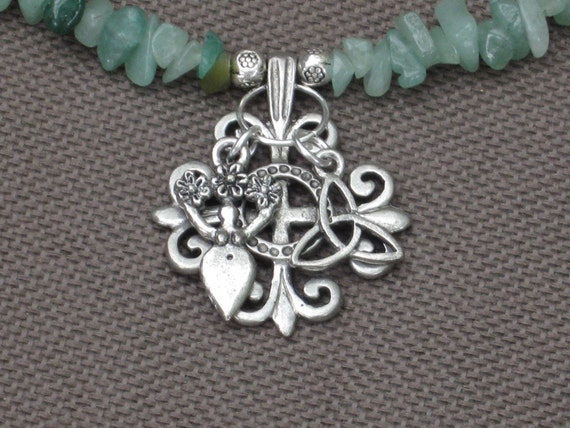 Necklace-Celtic Symbol Jewelry-Celtic Necklace-Goddess Necklace-Triquetra Necklace-Stone Necklace-Celtic Charms-Pagan Symbols Jewelry