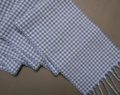 One of a Kind Handmade Blue White Scarf in Cotton Blend