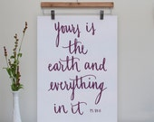 Yours is the Earth Original Print // 8x10 // Plum
